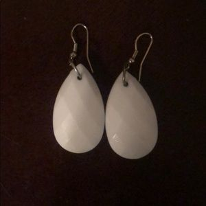 White Drop Earrings